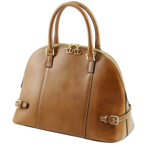 TL Bag Leather handbag with buckles Dark Taupe TL141235