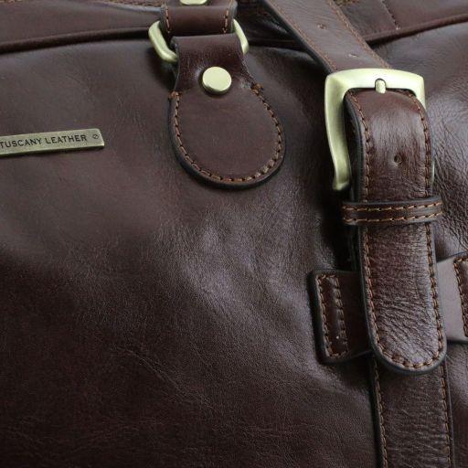 TL Voyager Reisetasche aus Leder mit Schnallen - Gross Dunkelbraun TL141248