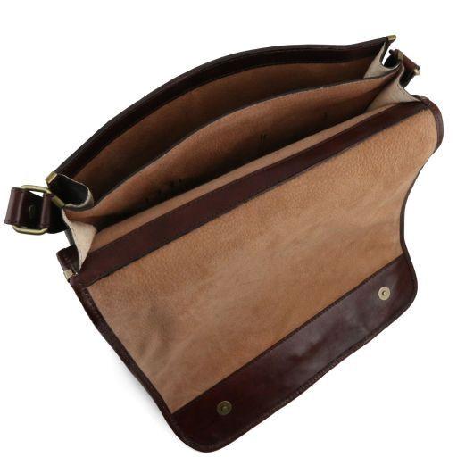 TL Messenger Кожаная сумка на плечо с 2 отделениями - Большой размер Темно-коричневый TL141254