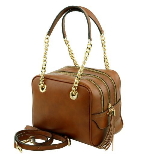 TL NeoClassic Leather handbag with chain handles and tassel details Cognac TL141266