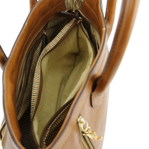 TL Bag Кожаная сумка с молниями Коньяк TL141279