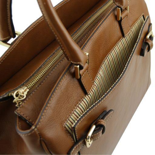 TL Bag Borsa a mano in pelle con tasca frontale Rosso TL141280