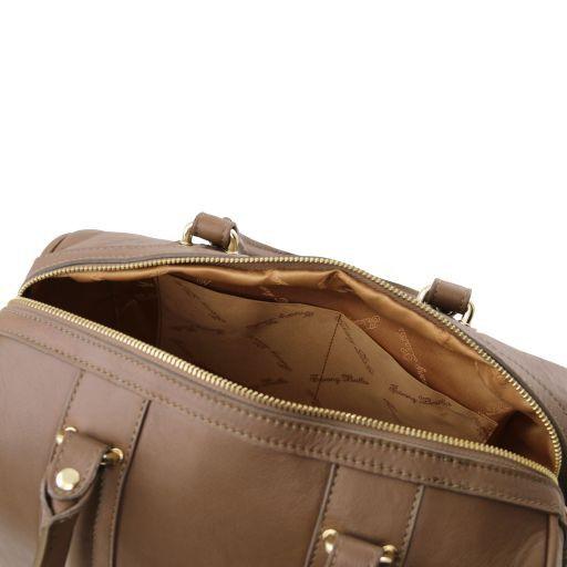 TL KeyLuck Bauletto in pelle morbida con accessori color oro Talpa scuro TL141284