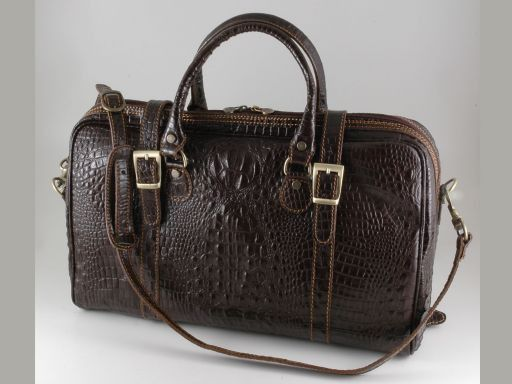 Berlin Croco look leather travel bag - Small size Dark Brown TL140751