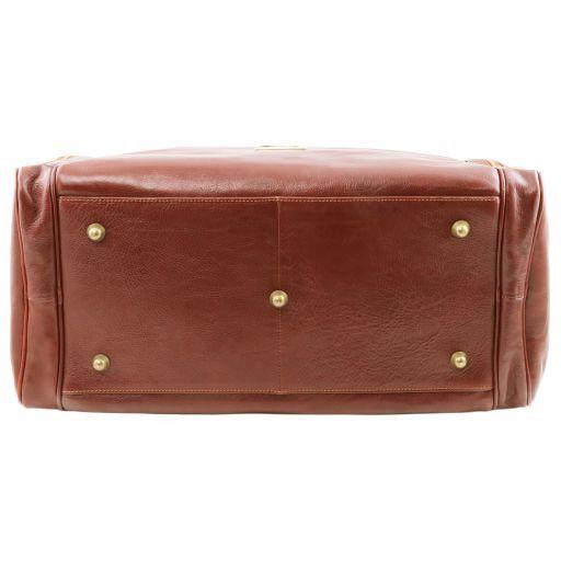 TL Voyager Reisetasche aus Leder mit 2 Reissverschluss - Seitentaschen Braun TL141296