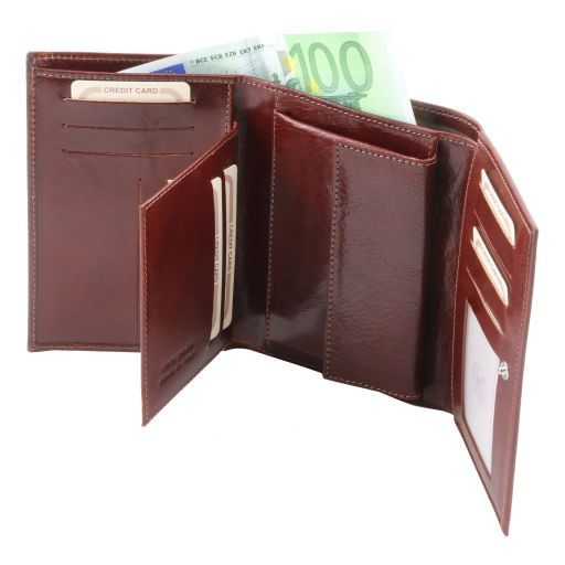Exklusives Portemonnaie aus Leder für Damen Schwarz TL141314