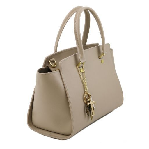 TL KeyLuck Saffiano Leder Handtasche mit zwei Henkel Dunkelblau TL141316