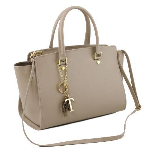 TL KeyLuck Saffiano leather handbag with two handles Dark Blue TL141316