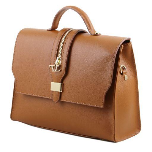 TL Bag Borsa a mano in pelle Saffiano e tracolla staccabile Blu TL141318