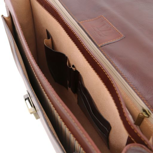Napoli 2 compartments leather briefcase with front pocket Dark Brown TL141348
