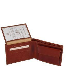 Esclusivo portafoglio uomo in pelle 3 ante con portaspiccioli Marrone TL140763