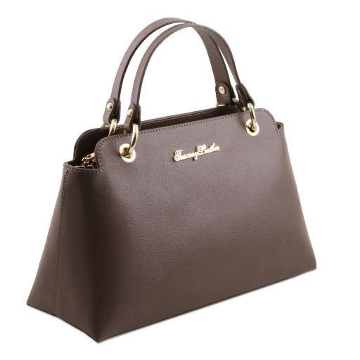 TL Bag Borsa a mano in pelle Saffiano con due manici Nero TL141367