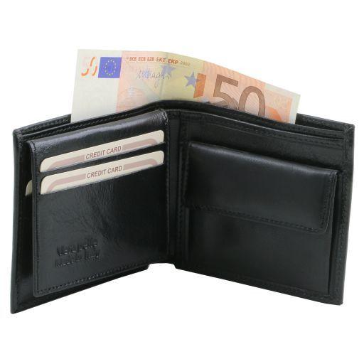 Elégant portefeuille en cuir pour homme avec 3 volets et porte monnaie Marron TL141377