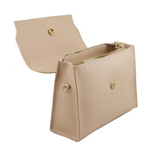 TL Bag Borsa a mano in pelle Saffiano e tracolla staccabile Talpa scuro TL141399