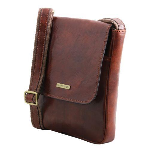 John Herrentasche aus Leder mit Reißverschlussfach Braun TL141408