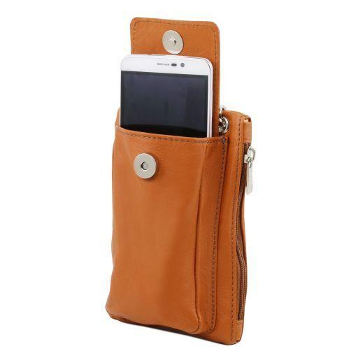 TL Bag Mini Schulter-Handytasche aus weichem Leder Dunkelblau TL141423