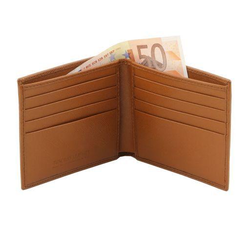 Esclusivo portafoglio uomo in pelle Saffiano 2 ante Nero TL141437