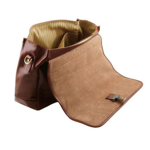 Mantova TL SMART Multifach-Aktentasche aus Leder mit Klappe Braun TL141450