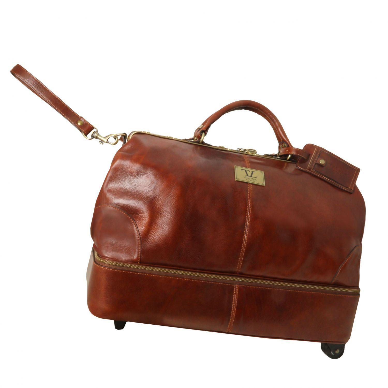 Tuscany Leather SIVIGLIA - Sac de voyage en cuir avec double fond et deux roulettes - TL141451 (Miel) aoHZF