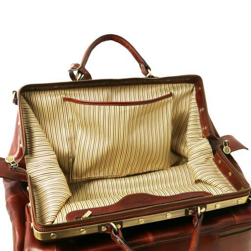 Siviglia Two wheeles double-bottom Gladstone leather bag Коричневый TL141451