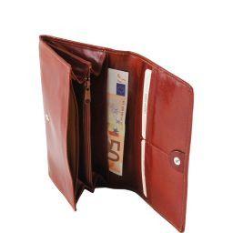 Esclusivo portafogli in pelle da donna con soffietti Marrone TL140787