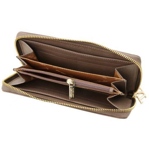 Esclusivo portafogli donna in pelle Saffiano a 3 scomparti con zip Talpa chiaro TL141461