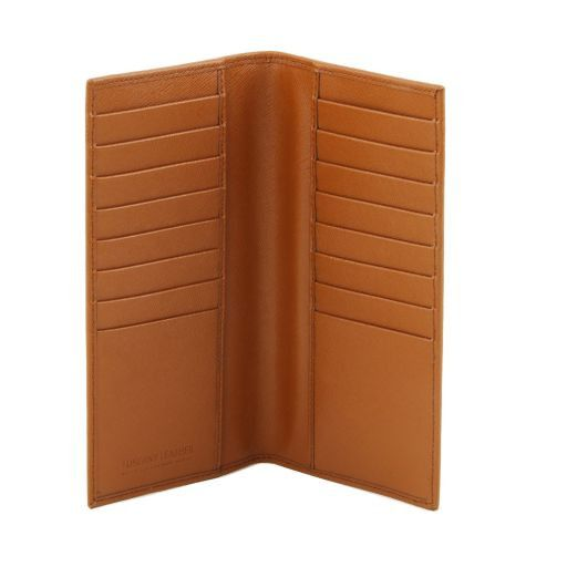 Esclusivo portafoglio/portacarte di credito verticale in pelle Saffiano Nero TL141496