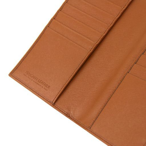 Esclusivo portafoglio/portacarte di credito verticale in pelle Saffiano Blu scuro TL141496
