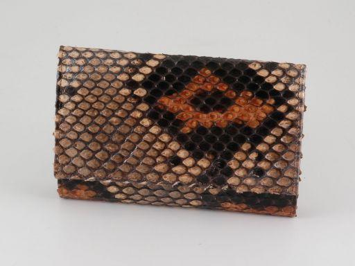 Esclusivo portafogli da donna in vero pitone Marrone TL140799