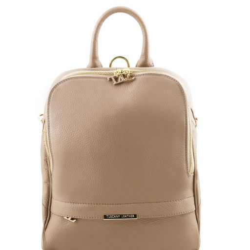 TL Bag Sac à dos pour femme en cuir souple Taupe clair TL141509