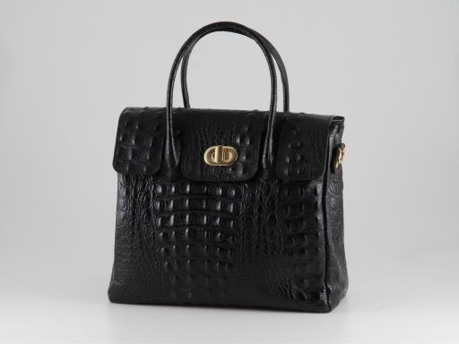 Erika Lady bag in croco look leather - Small size Black TL140846