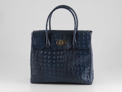 Erika Lady bag in croco look leather - Small size Blue TL140846