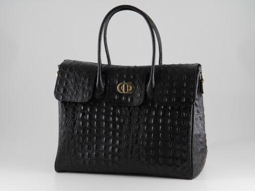 Erika Hobo Damentasche aus Leder im Kroko-Look - Gross Schwarz TL140847
