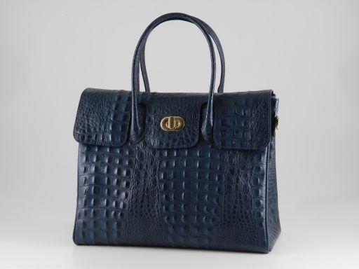 Erika Sac pour femme en cuir imprimé croco - Grand modèle Bleu TL140847
