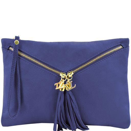 Audrey Leather clutch Blue TL140988