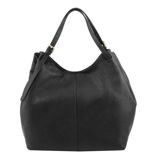 Cinzia Sac shopping en cuir souple Noir TL141515