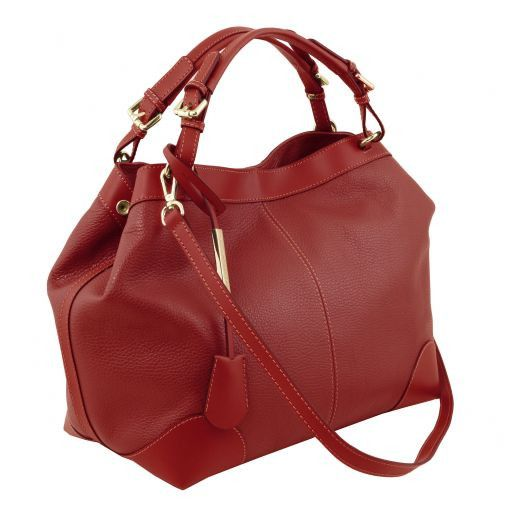 Ambrosia Soft leather shopping bag with shoulder strap Red TL141516