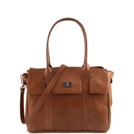 Eva Sac à épaule en cuir - Taille moyenne Cognac TL140918