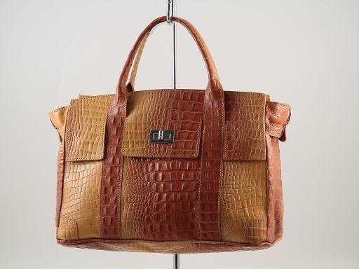 Eva Bolso de señora en piel imprimida - Modelo pequeño Naranja TL140924