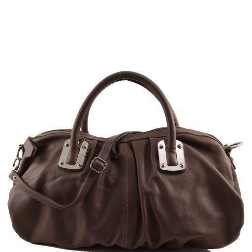Nora Leather mini duffle for women Темный серо-коричневый TL140934