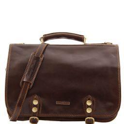 Capri Кожаная сумка-мессенджер на два отделения Темно-коричневый TL10068