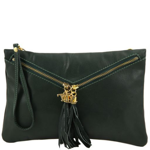Audrey Leather clutch Dark Green TL140988