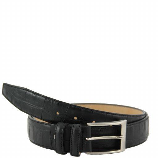 Cintura in pelle stampa cocco Nero TL141019