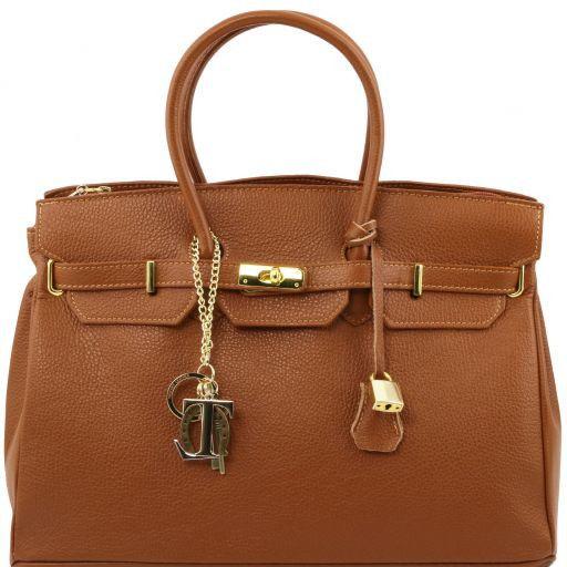 TL KeyLuck Borsa a mano media con accessori oro Cognac TL141092
