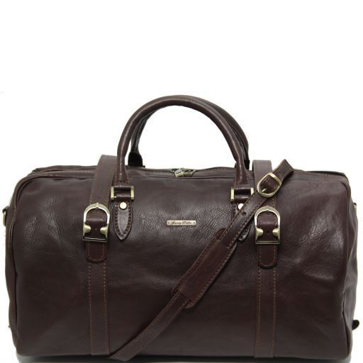 TL Travel Exclusive Leather Weekender Travel Bag with buckles Dark Brown TL151102