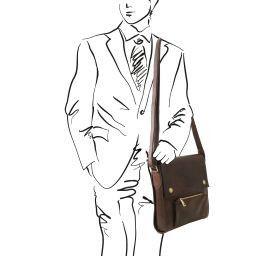Oliver Borsello da uomo in pelle con tasca frontale Testa di Moro TL141656