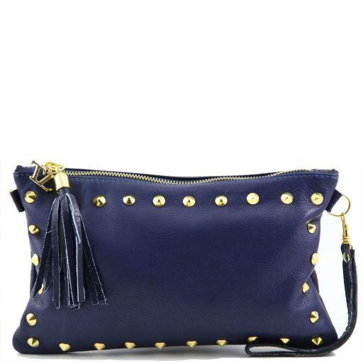 TL Rockbag Pochette in pelle con borchie Blu TL141114