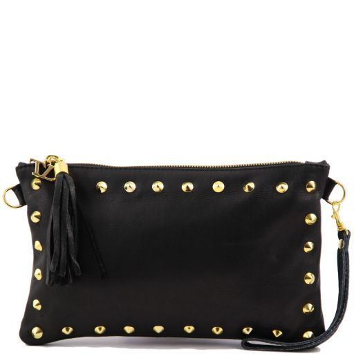 TL Rockbag Studded leather clutch Black TL141114