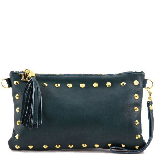 TL Rockbag Studded leather clutch Teal TL141114