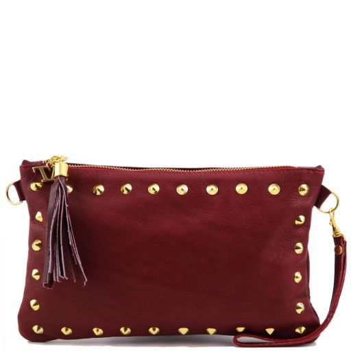 TL Rockbag Studded leather clutch Красный TL141114